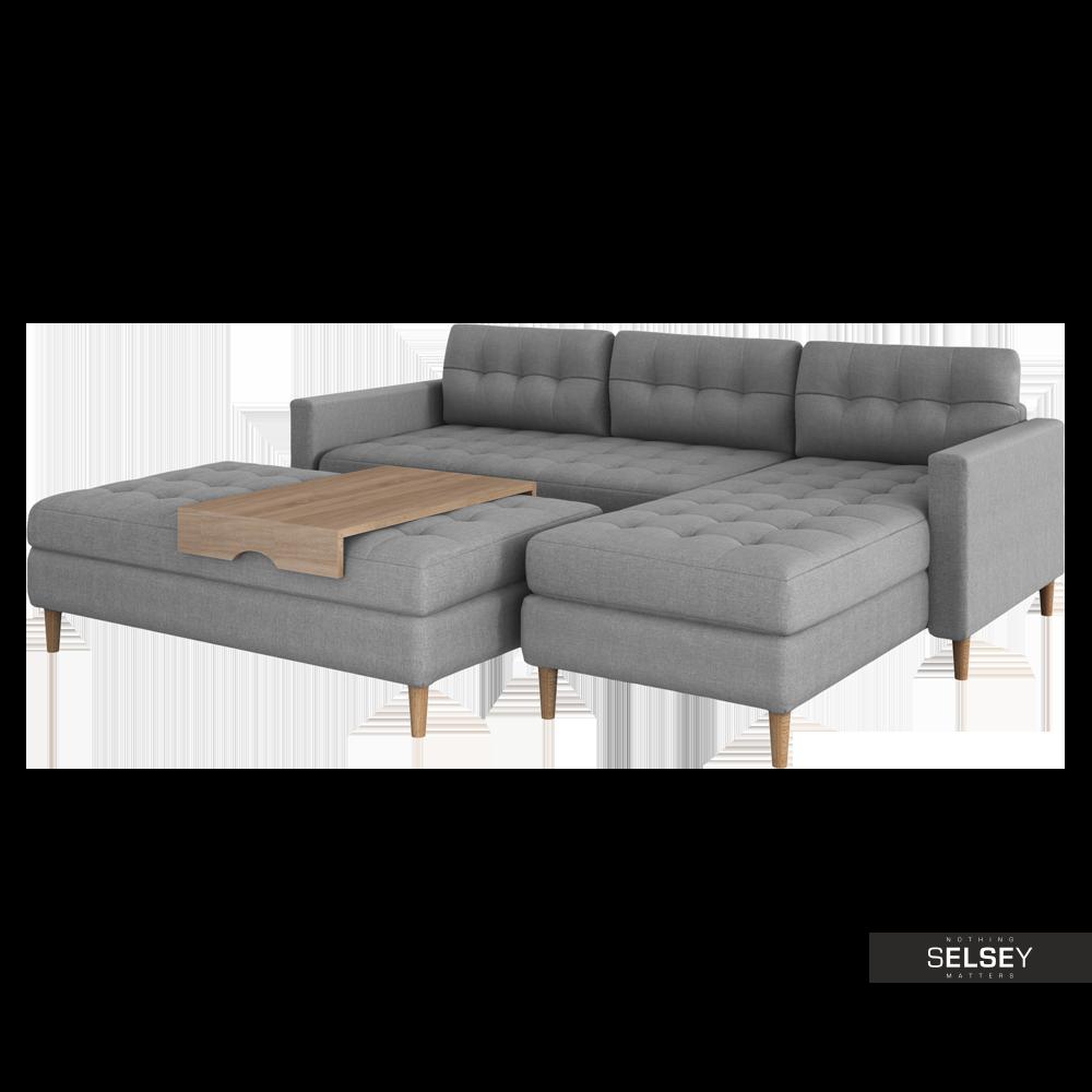 Copenhagen Grey Corner Sofa with Pouf and Tray Top