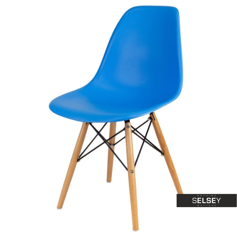 Basic Blue Nordic Style Chair on Wooden Legs