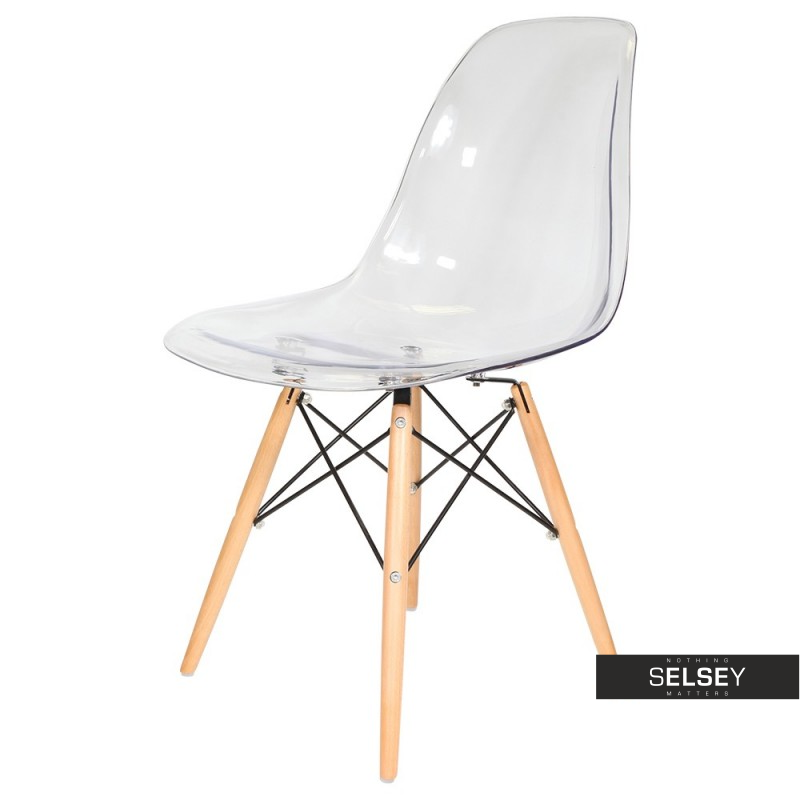 Basic Transparent Nordic Style Chair on Wooden Legs
