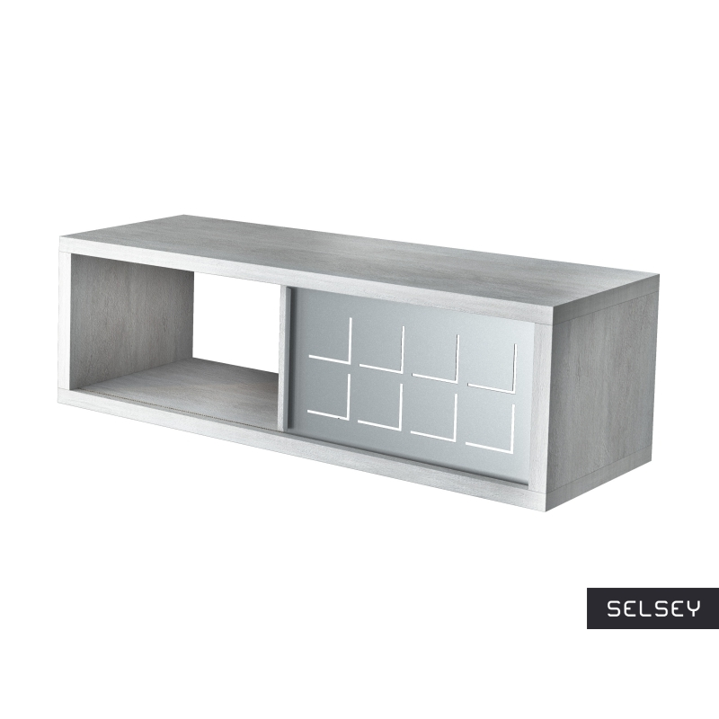 Italia Concrete Grey Floating Shelf with Metal Front