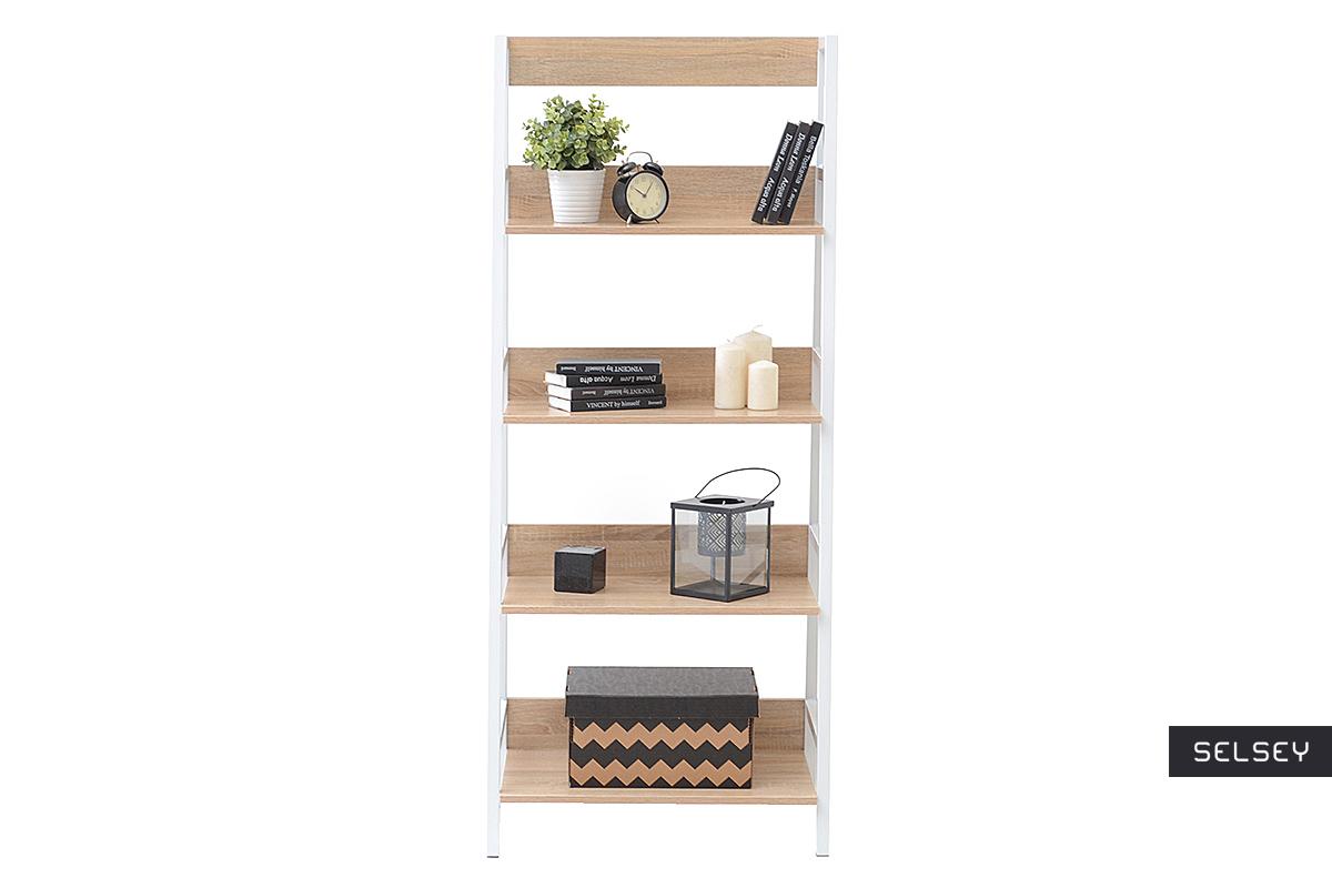 Berg Scandinavian Ladder Bookcase White And Oak