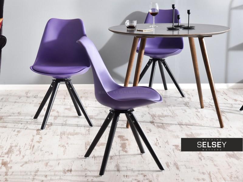 Luis Purple Swivel Chair on Black Legs - Selsey