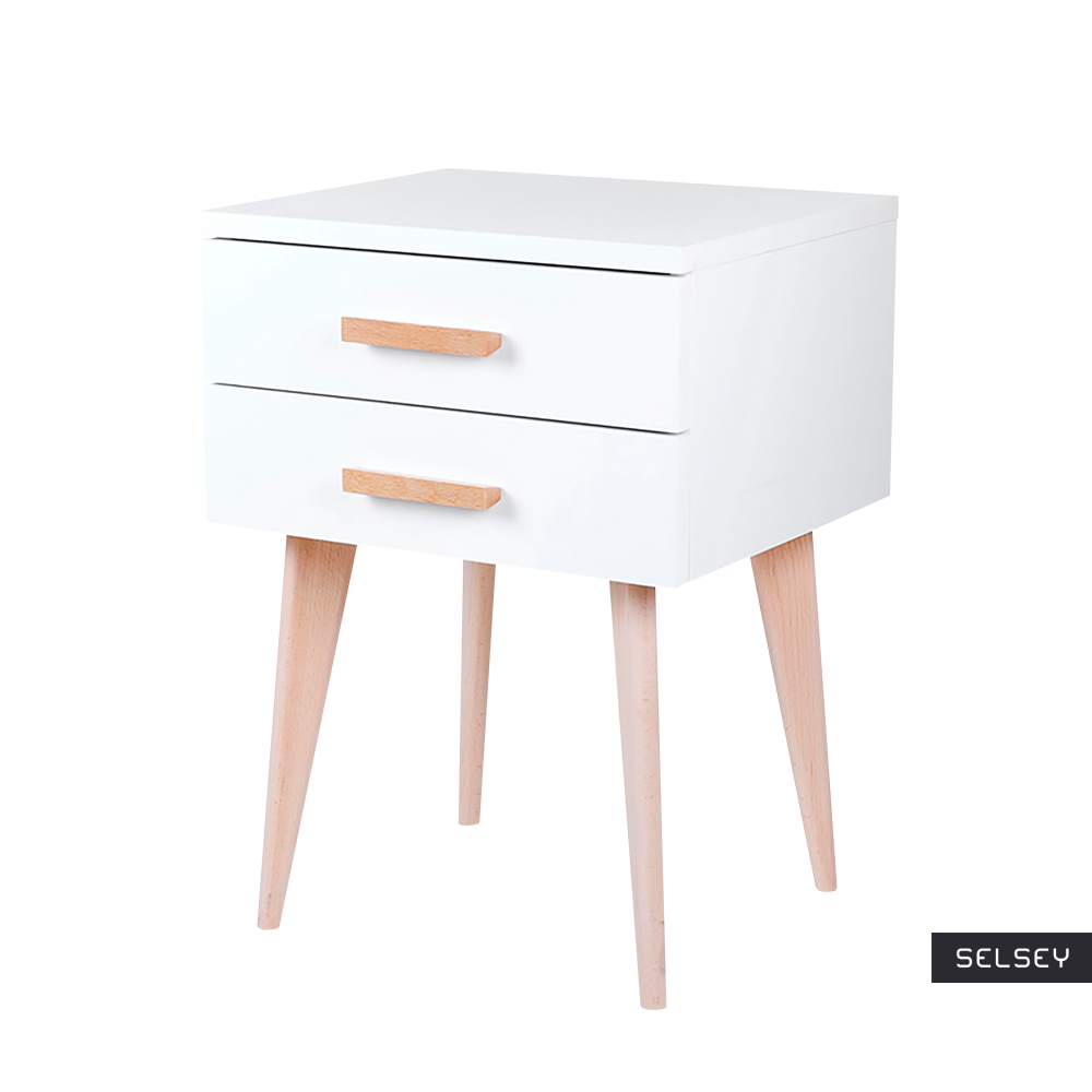Sardinia White Scandinavian Bedside Table