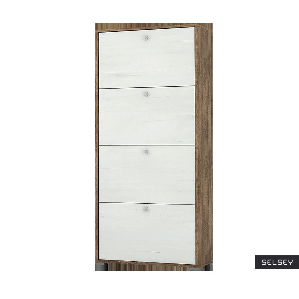 Italia 4 Shelf Shoe Cabinet White and Oak