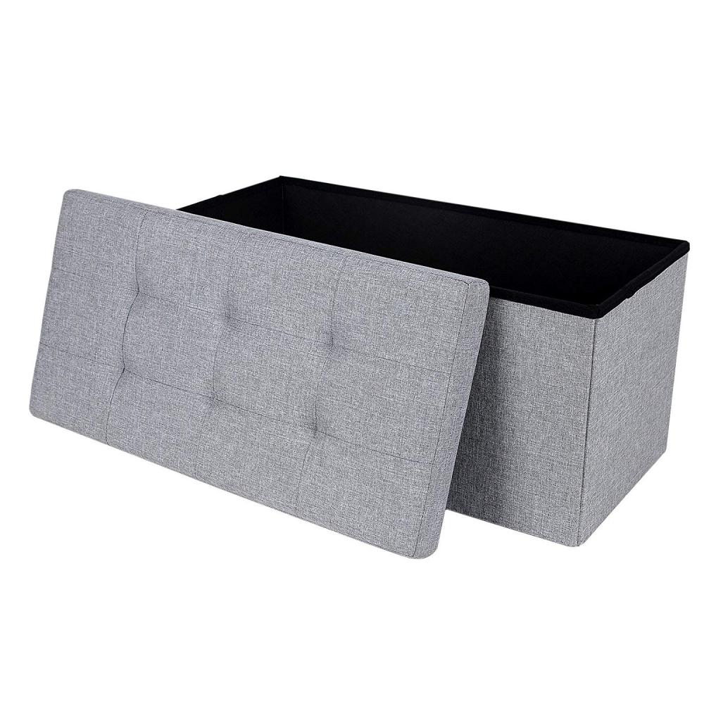 Ali Grey Tufted Trunk 76x38 cm