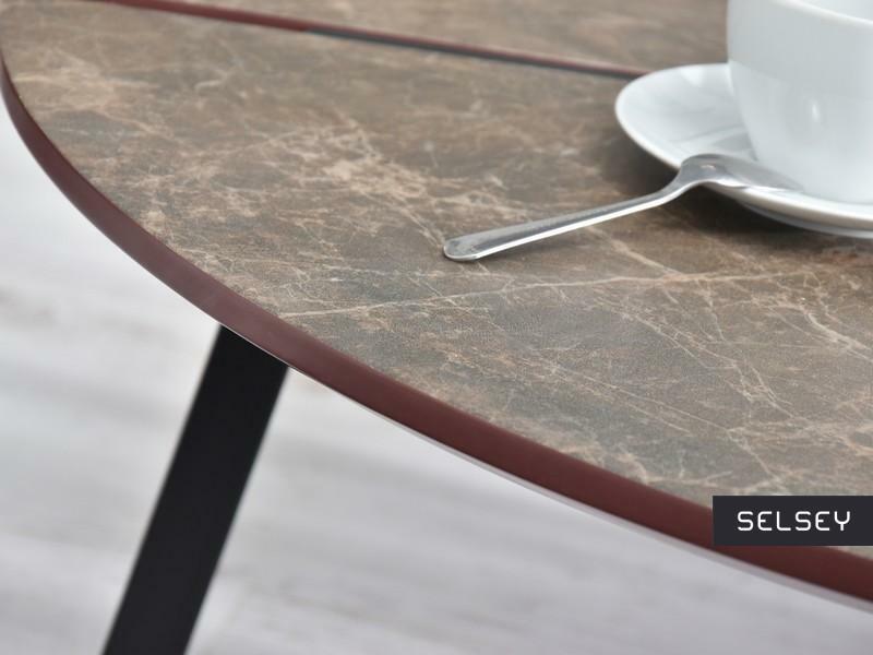 Nayru Brown Marble Round Coffee Table