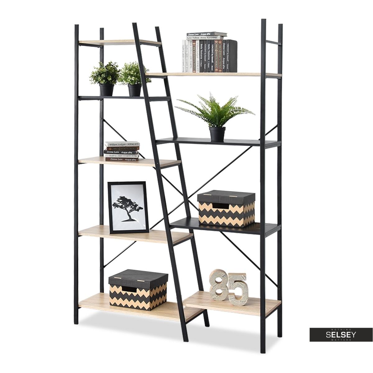 Pyton Industrial Black Oak 9 Shelf Bookcase