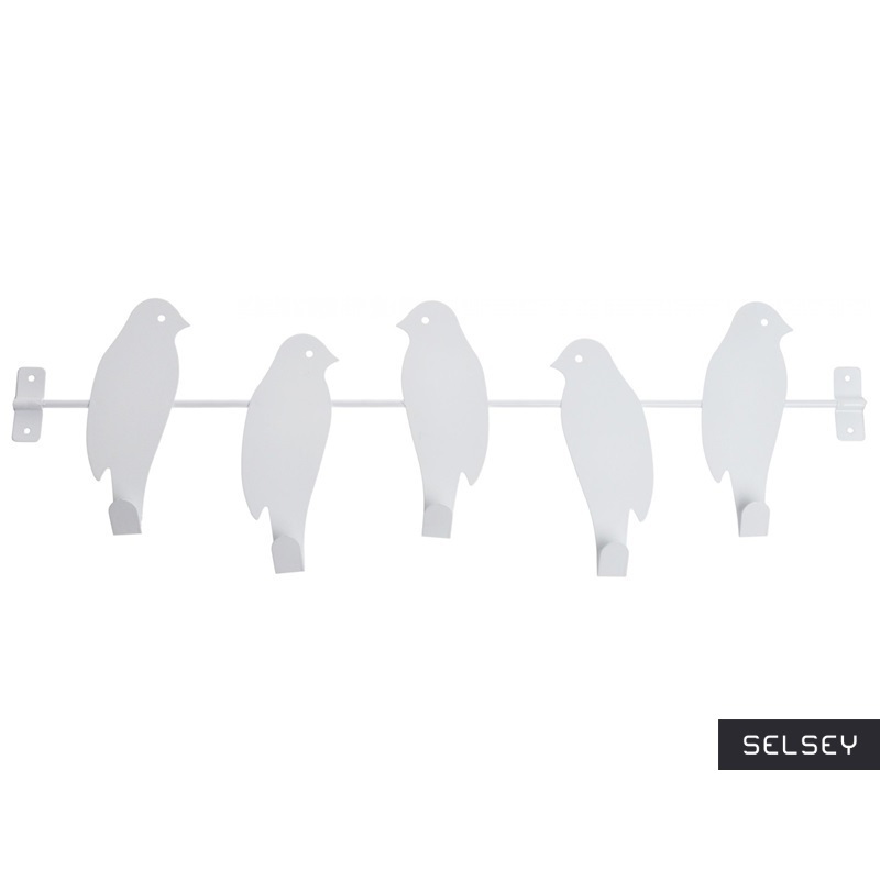 Birds White Decorative Hooks