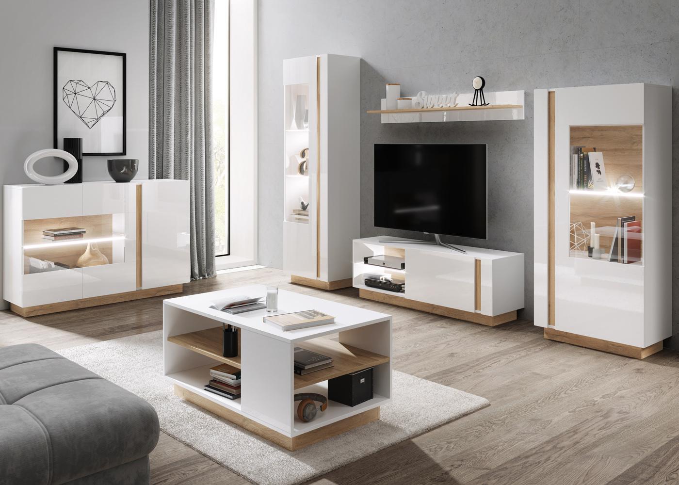 Skoky 4 Piece Living Room Furniture Set White Oak Selsey