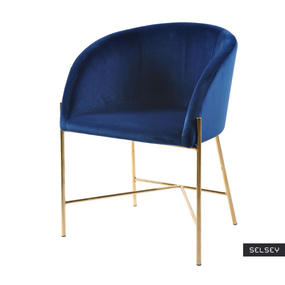 Ribioc Navy Blue Modern Velour Chair on Golden Legs