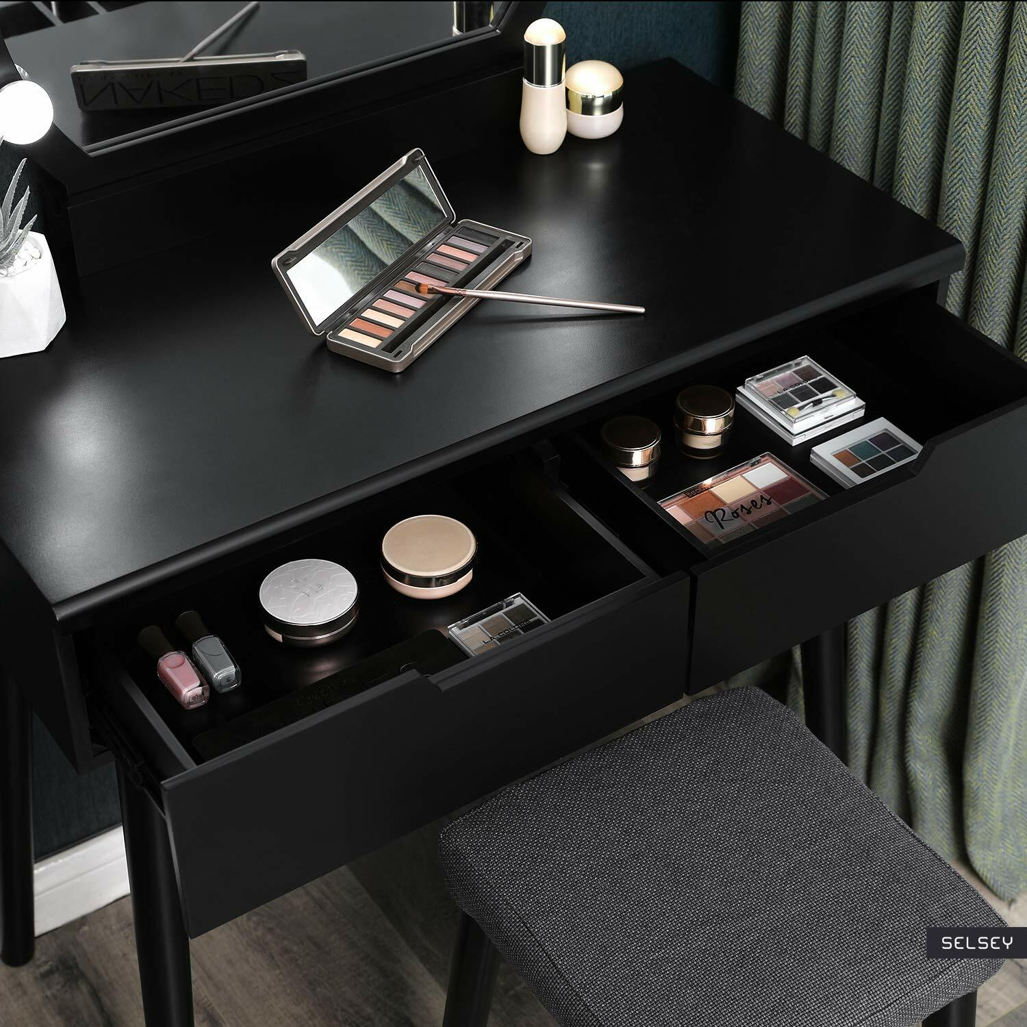Gaga Black Vanity Table Set With Lights Selsey
