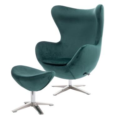 Cocoon Velvet Designer Armchair with Footstool Pine Green