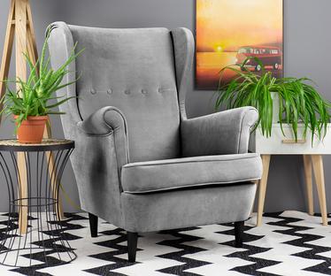 Mallmon Light Grey Armchair with Footstool in Velvet Water-Repellent Fabric