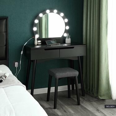 Milady Black Vanity Table Set with Lights