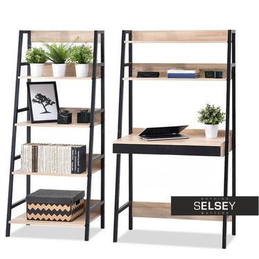 Berg Ladder Shelf Desk and Bookcase Set Black with Oak