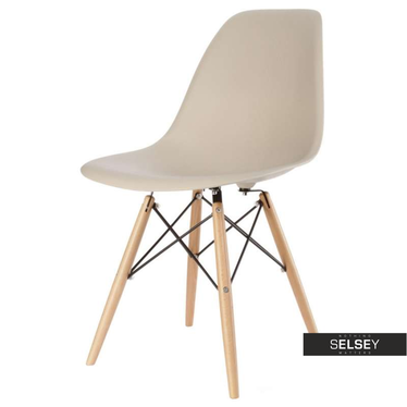 Basic Beige Nordic Style Chair on Wooden Legs