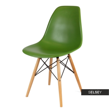 Basic Green Nordic Style Chair on Wooden Legs