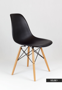 Basic Black Nordic Style Chair on Wooden Legs
