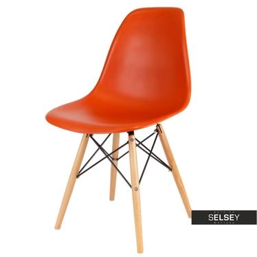 Basic Orange Nordic Style Chair on Wooden Legs