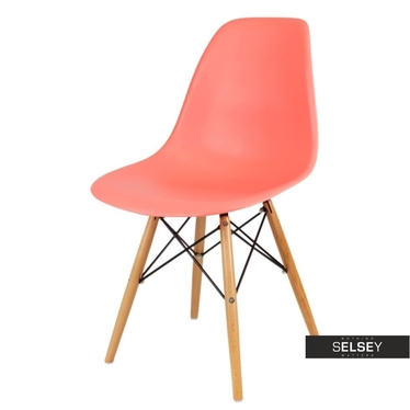 Basic Peach Nordic Style Chair on Wooden Legs