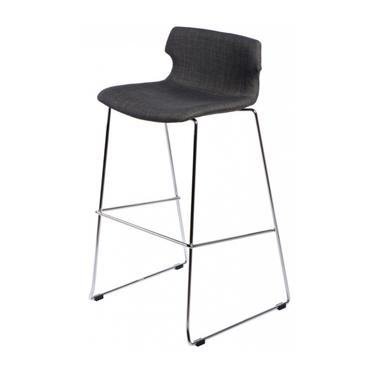 Techno Upholstered Grey Bar Stool