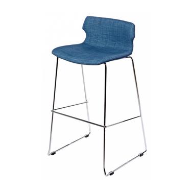 Techno Upholstered Blue Bar Stool