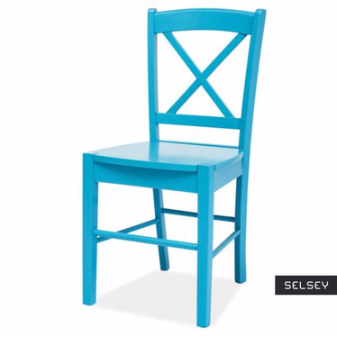 Svene Wooden Blue Dining Chair in Farmhouse Style