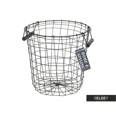 Bron Metal Basket with Wooden Handles 29.5 cm