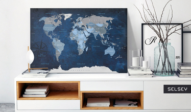 Night Sky World Map Pinboard