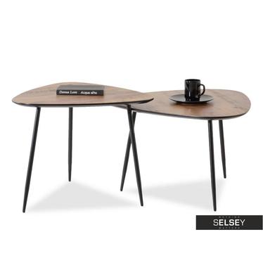 Rosin Coffee Table Set Walnut and Black