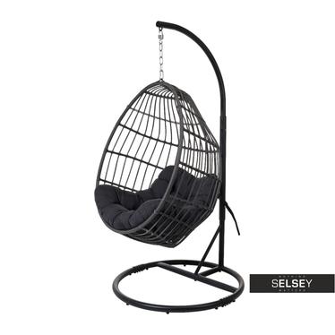 Cocoon Black Rattan Garden Swing Chair