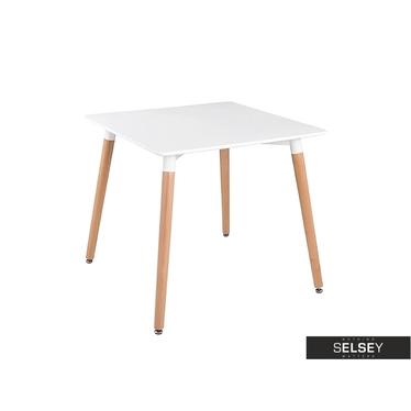 Dora White Table on Beech Legs