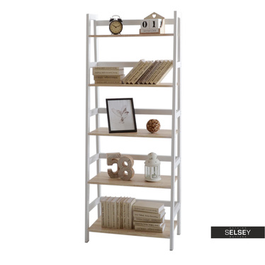 Tower White Ladder Bookcase