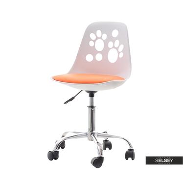 Foot Kids Swivel Chair White and Orange