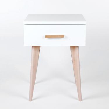 Sicilia White Scandinavian Bedside Table