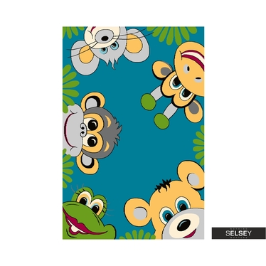 Youth Turquoise Zoo Kids Rug