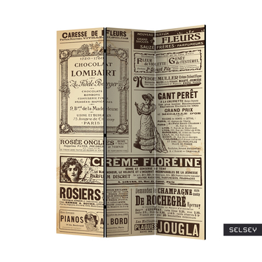 Vintage Magazine 3 Piece Room Divider