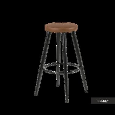 Cornet Metal Bar Stool with Brown Seat