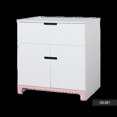 Mini Nursery 2 Door Dresser White and Pink