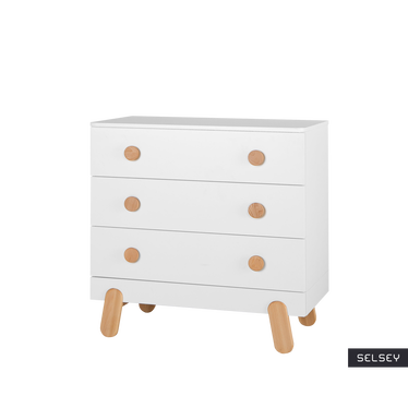 Iga White Nursery 3 Drawer Dresser