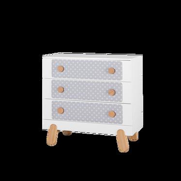 Iga Nursery 3 Drawer Dresser White with Dots