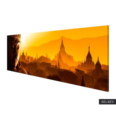 Stupas at Sunset Canvas Print 135x45 cm
