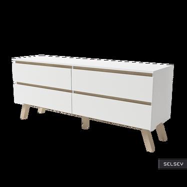 Thor Scandinavian 4 Drawer Low Sideboard