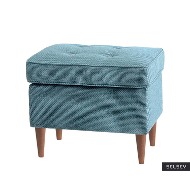 Malmo Tufted Footstool Turquoise Wallnut