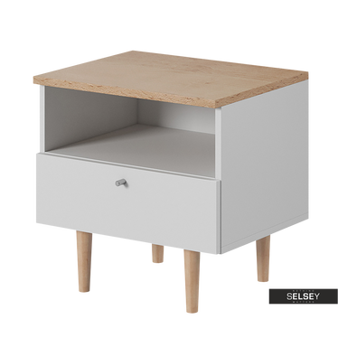 Fjord Scandinavian Bedside Table with Drawer