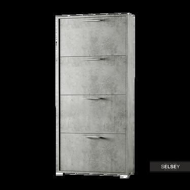 Italia 4 Shelf Shoe Cabinet Concrete Grey