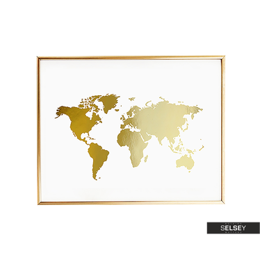 World Map Golden Wall Poster