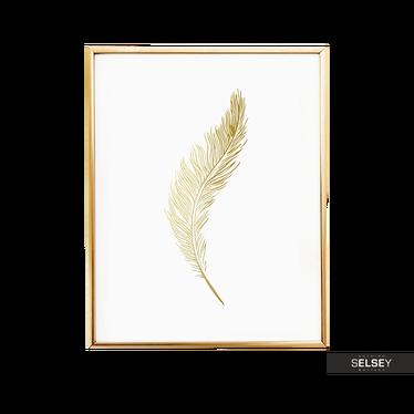 Feather Golden Wall Art Print