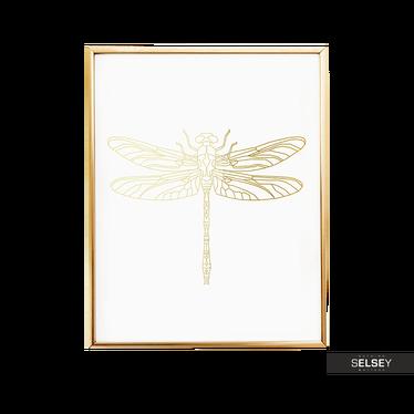 Dragonfly Golden Wall Print