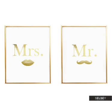Mr Moustache and Mrs Lips Golden 2 Piece Wall Poster Set